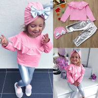 3PCS/Set Kids Infant Baby Girl Long Sleeve T-shirt Tops Pants Hat Outfit Clothes