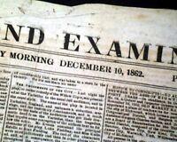 Rare CONFEDERATE CAPITAL w/ Braxton Bragg Letter Civil War 1862 Old Newspaper