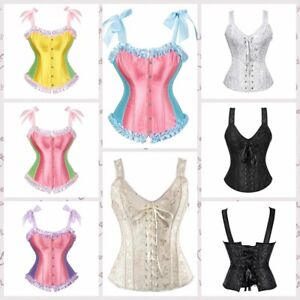Corset Bustier Boning Steel Lace-up Shaper Overbust Embroidery Corselet Women