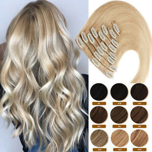 100% Human Hair LONG & SHORT Clip In Full Head Real Remy Hair Extensions #Blonde