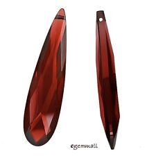 1PC Cubic Zirconia Flat Pear Briolette Pendant Bead 9x36mm Garnet Red #64560