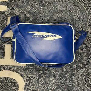 Vintage Retro  Skechers Vinyl bag carry on Messenger Bag Striped 90s⚡️Ships Now