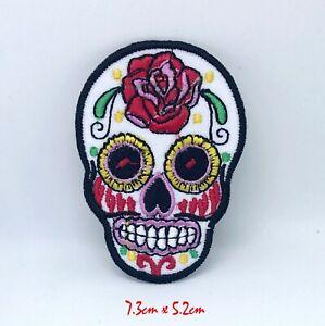 Rose Zucker Totenkopf Day Of The Dead Mexico Zum Aufbügeln Aufnäher Bestickt #