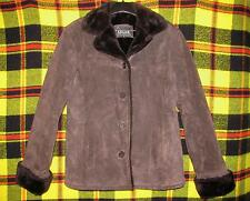 Adler Collection Coat/Jacket Size M Women's Suede Leather Faux Fur Dark Brown
