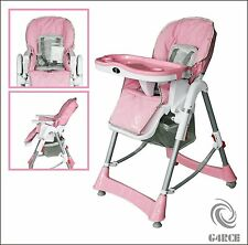 G4RCE Foldable 3 IN 1 Baby Toddler Infant High chair Feeding Recliner Seat Pink