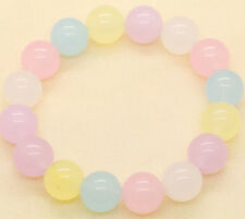 10mm Multi-Color Blue Purple Yellow Pink Jade Beads Stretchy Bangle Bracelet