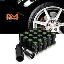 M12X1.5 Green JDM Closed End Lug Nuts+Spline Lock+Key+Extension 22mmx45mm 20Pc