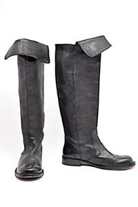 "BARBARA BUI Black Leather 1-1/8"" Heel over The Knee Boots Fold over Top Sz EU 41"