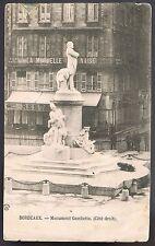 BORDEAUX Monument Gambetta RESTAURANT Mutuelle CPA Écrite Timbrée Oblitérée 1904