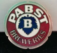 Sculpted Round Edge Pabst Enameled Metal Pin