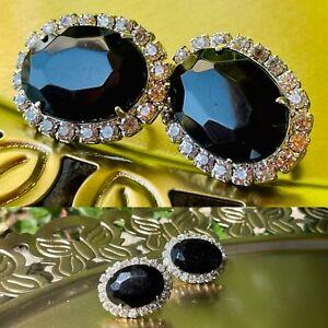Vintage Silver Tone Faceted Black RhineStone CZ Elegant Clip on Earrings