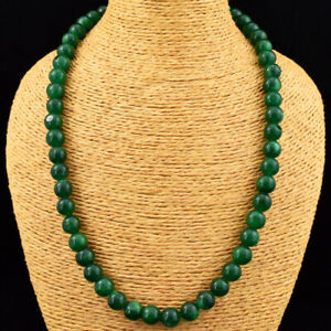Genuine 375.00 Cts Earth Mined Green Emerald Round Beads Necklace JK 04E165