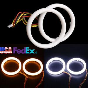 White+Amber DRL Turning Light LED Halo Ring Headlight Angel Eyes Lights 12V