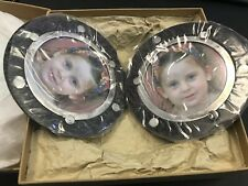 Large Two Sided Round Magnetic Frame John Hardy Dot Silver Black Palm Wood