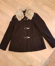 Dark Navy Blue Wool-Like JACKET Faux Fur Collar size 10 Girls/Ladies Winter