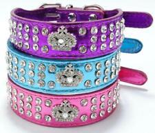 Small Pet Dog Cat Collar Crown Rhinestone Diamante Crystal Leather Dog Collar