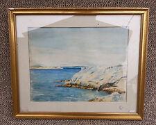 Ancien tableau cadre en bois paysage marin sous verre signé french antique