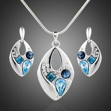 White GP Sparkly Blue Austria Crystal Chain Necklace Drop Earrings Jewellery Set