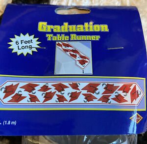 6ft Red Printed Graduation Cap Table Runner New in Package
