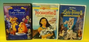 Disney 3 Working DVD Kids Lot Lady and the Tramp 50th 1 2 and Pocahontas II 2
