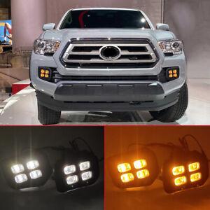 2x LED Daytime Running Lights Yellow Turn Signal Fog Kit For Toyota Tacoma 16-20