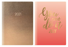 2021 Week To View A5 Diary Metallic Organiser Pink, Gold Foil Cover Planner Book