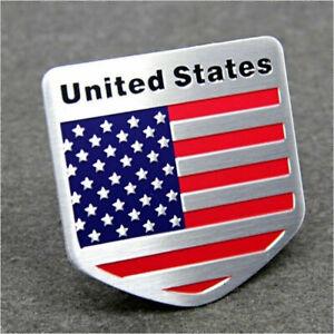 1PC Car Door/Fenders/Tailgate Metal American Flag Shield USA Logo Sticker Badge