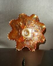 Marigold tri footed bowl with Art Nouveau design