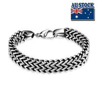 8 inches Mens Stainless Steel Silver Bracelet Chain Link Bangle