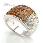 18K WGP Beautiful Amber Ring Use Swarovski Crystal RP9087 Free Gift Pouch