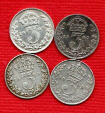 More details for  1902 1907 1908 1909 king edward vii, silver threepence coins. 4 x 3d job lot.