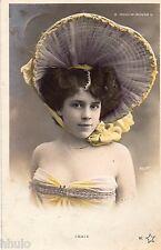 BD549 Carte Photo vintage card RPPC Femme woman Fraix Moulin Rouge chapeau Hat