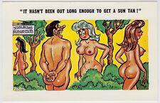 SAUCY POSTCARD - seaside comic, nudist club, sexy lady big boobs tan, PEDRO #176