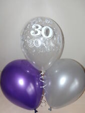 Purple Silver & Clear Printed 30th BIRTHDAY BALLOONS / Party Decorations x 15