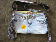 """ONE OF A KIND HOMEMADE POCKET BOOK """"MUDD JEANS"""" 14""""X 7.5"""" 7 POCKETS TIE STRAP"""