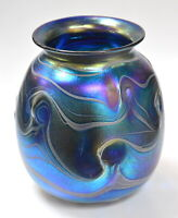 Blue Iridescent Vase with White Wave Design by Saul Alcaraz. Blown