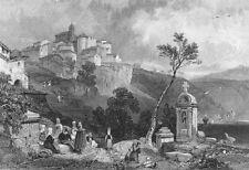 Italy, GENZANO DI ROMA LAKE NEMI Castel Gandolfo ~ Old 1832 Art Print Engraving