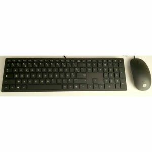 HP Black Wired Keyboard Mouse Set French Localised QWERTY Layout USB Black