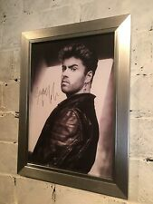 More details for a4 framed poster of george michael with reproduction autograph great gift