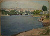 Russian Ukrainian Soviet Oil Painting Seascape impressionism  fisherman 1950s