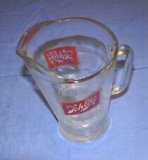Schlitz glass beer pitcher