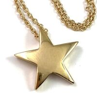 VINTAGE STAR NECKLACE DELICATE GOLD TONE METAL CHAIN STAR PENDANT