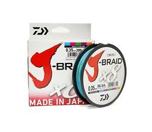 Daiwa J-Braid X8 300m/330yd Braided Fishing Line - Multicoloured - Various Sizes