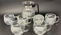 VTG Nescafe Nestle Glass World Globe Coffee Pot W/4 Mugs Sugar Creamer Carafe