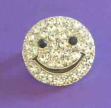Smile Face Pin Crystal Accents Smiley Silver Tone Eyes Mouth New