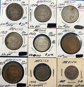 9 Mexico 50-Centavo Coins ~ 5 Silver(1905, '06, '07, '13, '43) & 4 ('50's-'60's)