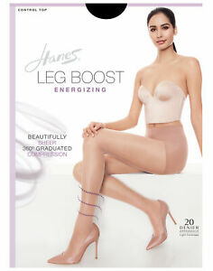 Hanes Pantyhose Leg Boost Energizing Glide On Shaping Control Top Smooth Look