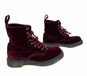 Dr Martens PAGE Cherry Red Velvet Goth Victorian Cottagecore Boots US 6 L, EU 37