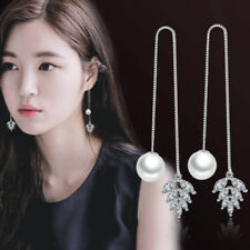 Womens Leaf Imitation Earrings Needle Zircon Pearl Dangle Long Line Threader Ear