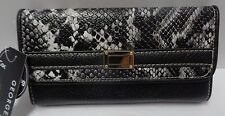 Women's Wallet Black Faux Snake Skin Clutch Billfold NWT George
